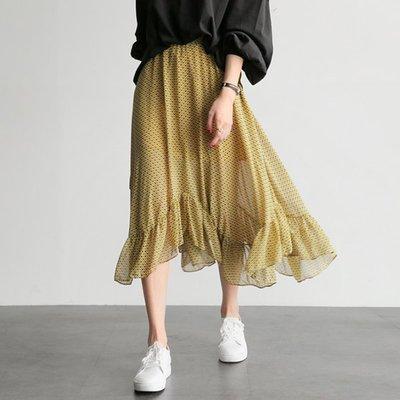 i-Mini 韓國空運 正韓˙唯美不規則裙擺鬆緊腰圍長裙【B03300492UH】