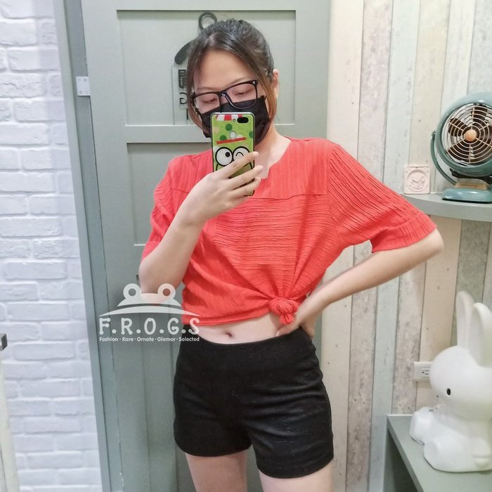 F.R.O.G.S T00121(二手)現貨特價-日系橘紅色縐褶感寬鬆短袖棉麻衣透氣罩衫休閒衣雪紡衣T恤棉衣
