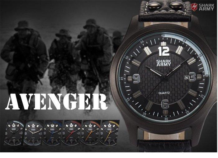 黑復仇者俠客鯊Army豪華男士軍事運動石英不銹黑鋼日期錶casio DW Ck AF infantry只有黃的