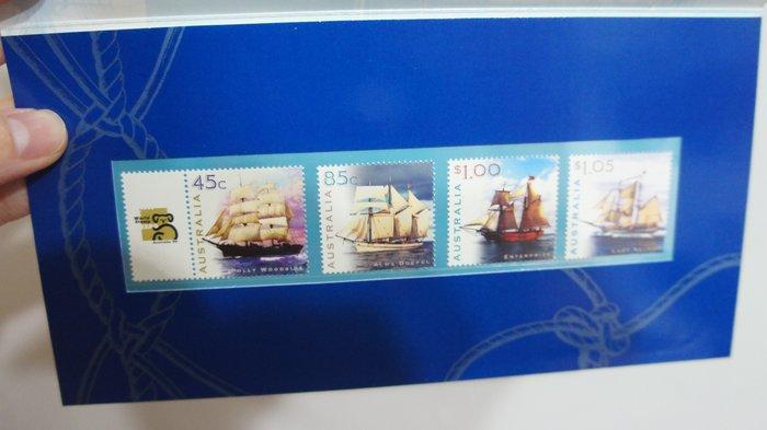 (全新)-澳洲-船-套票護卡(郵票)