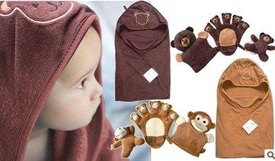 【K035】K35手偶包巾組 78*80cm 三角帽 護頭 包巾 抱被 浴巾 指偶娃娃 四件套組 彌月禮 壓箱 媽咪家
