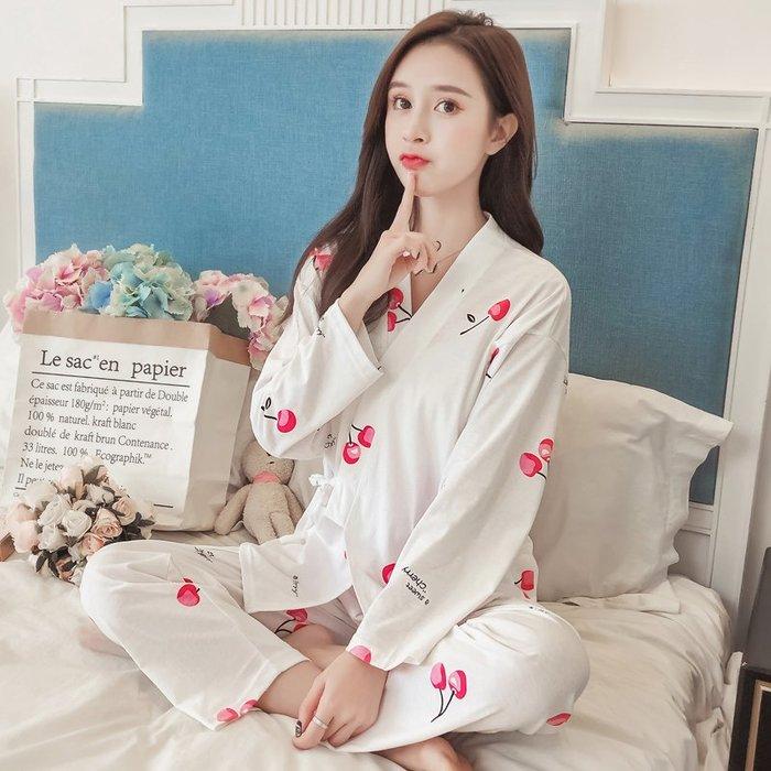 春秋季和服睡衣女秋冬純棉長袖兩件套學生清新可愛家居服韓版套裝