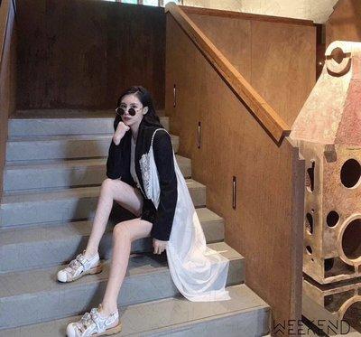 【WEEKEND】 GUCCI 可拆式水晶裝飾 皮革 網孔 包頭 鞋帶 魔鬼氈 休閒 涼鞋 白色 571557