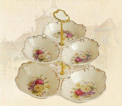 雨晴嚴選 果盤陶瓷雙層水果盤現代創意客廳歐式點心盤多層干果盤零食盤子糖果盤YQ565