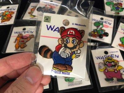 日本製 任天堂授權 正版 浣熊瑪利歐 超級瑪利歐 貼布 刺繡 super mario 瑪莉兄弟 Nintendo