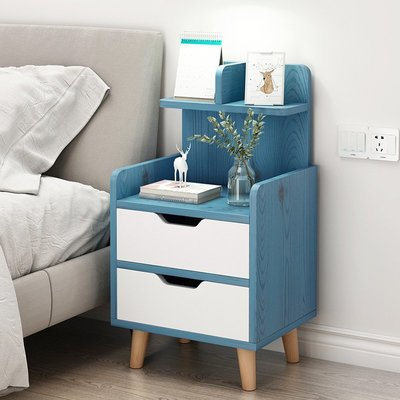 簡易床頭柜簡約現代組裝柜子實木腳迷你收納柜歐式臥室床邊小柜子