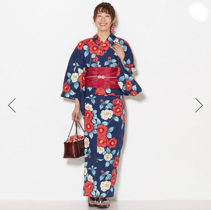 01日本全棉和服浴衣 藏藍底椿