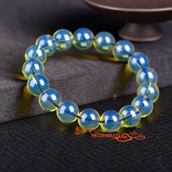 【福寶堂】純天然多米尼加5A凈水藍珀單圈手串 蜜蠟琥珀圓珠佛珠手鏈男女款