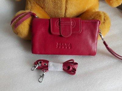 紫庭雜貨 全新 黛安娜Diana 真皮桃紅色中夾 長皮夾 手提包 手機袋 手機包 側背包 展示夾包 附長帶 短帶特價出清