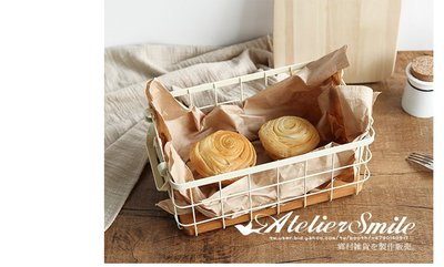 [ Atelier Smile ] 鄉村雜貨 北歐風 雙耳鐵製收納籃 木底板 文件收納  鐵籃 #  大款 (現+預)