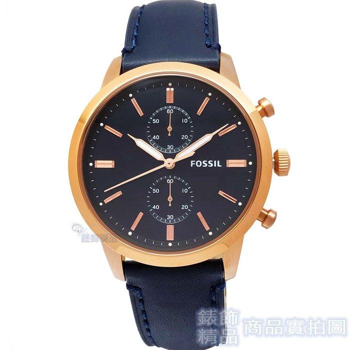 FOSSIL手錶 FS5436 玫瑰金時標 雙眼計時 夜光 深藍色皮帶 男錶【錶飾精品】