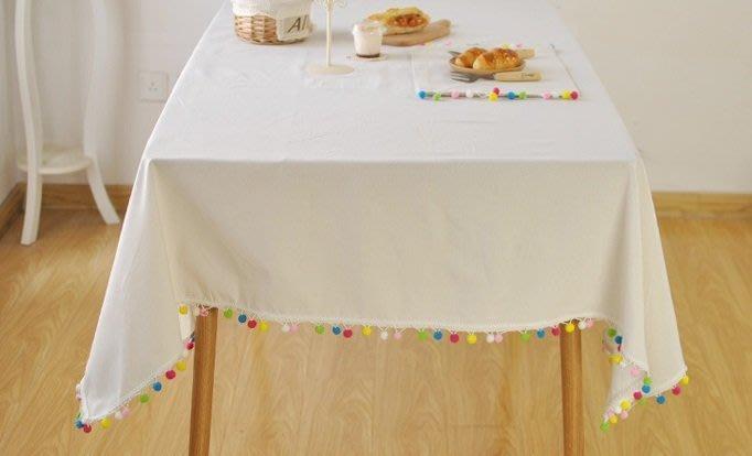 白色 彩色 圓球 桌巾 60*60cm - 桌布 聖誕 純白 方形 長方形 婚禮 白色 野餐 流蘇 蓋巾 -花木馬