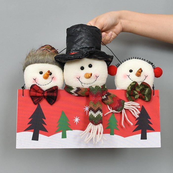 禧禧雜貨店-圣誕節木質掛飾圣誕老人雪人麋鹿三頭門掛牌櫥窗裝飾品場景布置#萬聖節道具#萬聖節裝飾#萬聖節服裝#萬聖節飾品