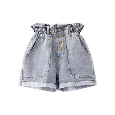 【17LOVE】穿上就知有多顯瘦!新款牛仔 裝飾大口袋 高腰荷葉收腰 排扣花苞捲邊 寬鬆短褲 休閒褲 熱褲 正韓牛仔褲