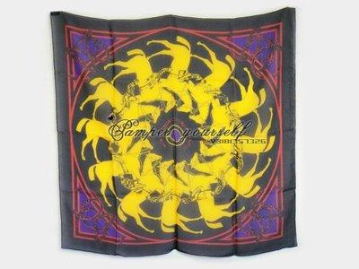 全新 法國真品 HERMES 愛馬仕 絲巾 方巾 1969年 LA RONDE DES JOCKEYS 藝術家