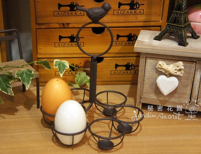 鄉村風鐵製小鳥六格蛋架/置物架--秘密花園