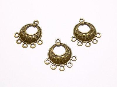 【綺妹手創雜貨】古銅色 圓形5掛垂吊飾《E402》 1個6元 串珠配件 高雄市