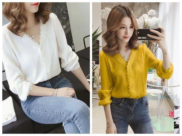 貓姐的團購中心~Z0238 韓版V領雪紡衫~2種顏色~S-3XL一件390元~預購款