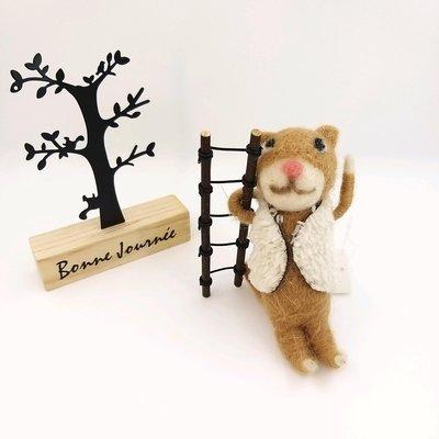 日本商品 日本可愛手工羊毛氈拿樓梯貓公仔
