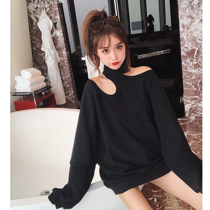 ❤Princess x Shop❤寬鬆露肩掛脖衛衣DL123019正韓國連線襯衫洋裝針織外套
