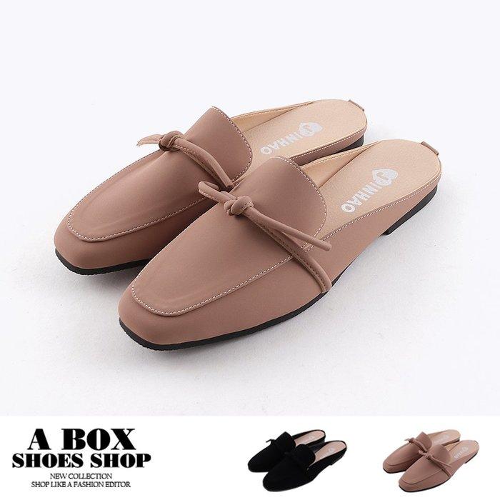 格子舖*【AW458】1CM穆勒鞋 優雅氣質細帶蝴蝶結 絨面平底方頭半包鞋 懶人鞋 MIT台灣製 2色