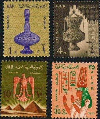 [亞瑟小舖]埃及巴勒斯坦專用新票古物及圖騰4枚,佳品!!!(1958年)