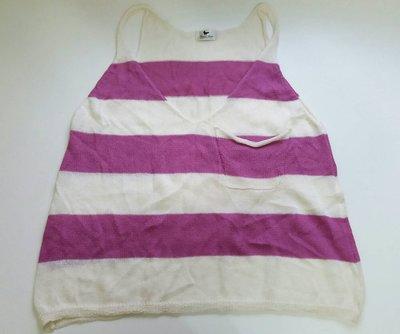 Peace Dove米白色莓紫色橫條紋背心針織衫單口袋設計長版混羊毛衫9 1元起標GUESS iCB ef-de 參考