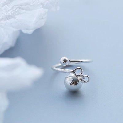 純銀飾品 項鏈 耳釘 手鏈 戒指通體s925純銀轉運珠戒指女食指戒日韓網紅潮人冷淡風學生個性清新