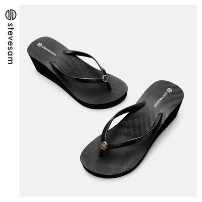 新款厚底涼拖鞋女夏時尚外穿百搭沙灘鉚釘拖鞋女坡跟增高-微利雜貨鋪-可開發票