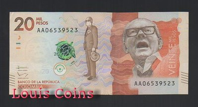 【Louis Coins】B805-COLOMBIA-2015-2017哥倫比亞紙幣 20.000 Pesos