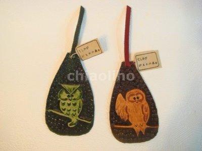 日本進口~皮製貓頭鷹 書籤