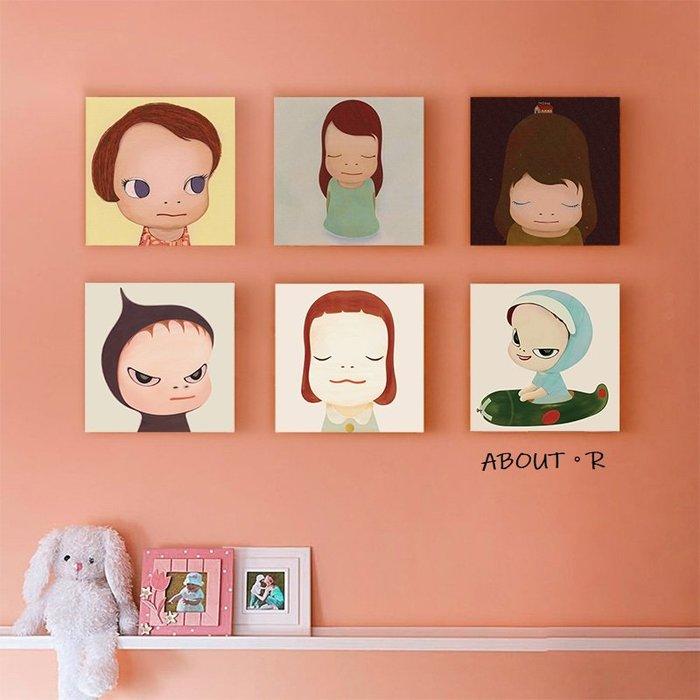 ABOUT。R  奈良美智裝飾畫兒童房臥室房間牆壁掛畫幼兒園壁畫無框畫人文藝清新藝術方形版畫日式風格卡通人物裝飾畫
