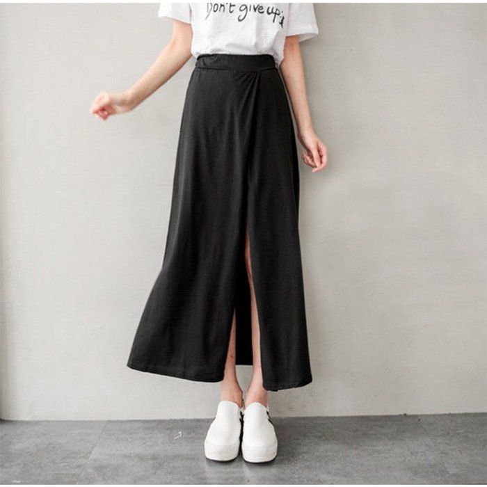 【Hao Da】全館399免運↘「M~XL。現貨出清」假兩件 前側斜開岔 棉質長裙 (P1094)