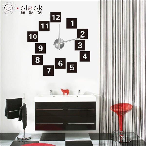 【鐘點站】12S019  方塊普普數字DIY 大時鐘 大壁鐘 100x100 cm 壁貼時鐘 立體無框掛鐘