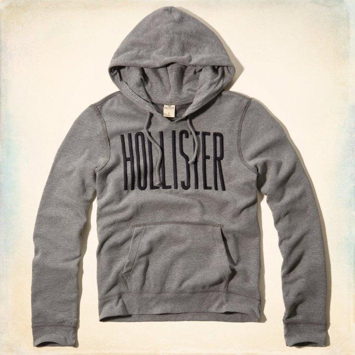 美國百分百【全新真品】Hollister Co. 帽T HCO 連帽 T恤 長袖 上衣 海鷗 灰色 S-XL號 F509