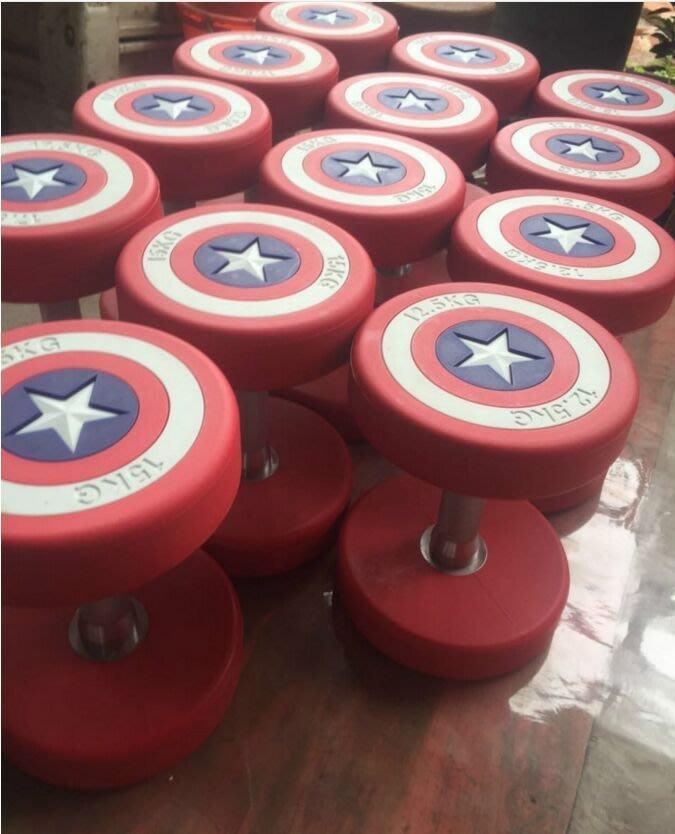 美國隊長啞鈴男士健身房專用啞鈴PU固定包膠橡膠啞鈴