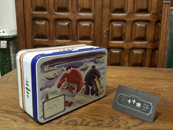 【卡卡頌 歐洲跳蚤市場/歐洲古董】歐洲老件_手繪風老鐵盒 餅乾盒 質感收納小物 MI0028 提供租借✬
