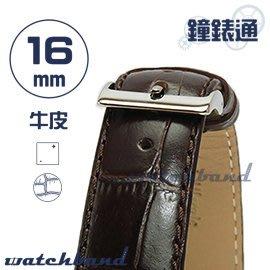 【鐘錶通】C1.28I《亮彩系列》鱷魚格紋-16mm 古典褐┝手錶錶帶/皮帶/牛皮錶帶┥