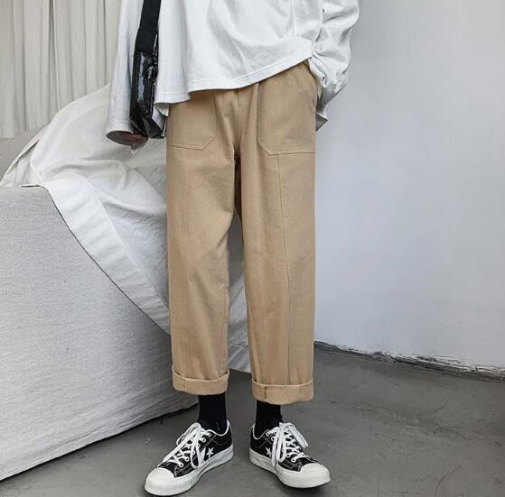 FINDSENSE X 日系 潮男 街頭流行時尚 立體裁線 純色工裝褲 休閒褲 直筒褲