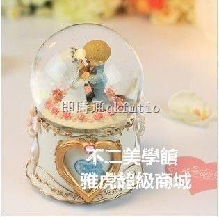 【格倫雅】天使旋律水滴娃娃相框結婚水晶球音樂盒 新婚禮物 實用 婚禮禮物3333[g-l-y