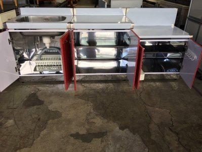 桃園國際二手貨中心------*全新*不鏽鋼 三件式 216公分 白鐵水槽流理+瓦斯平台+工作平台(附配件)