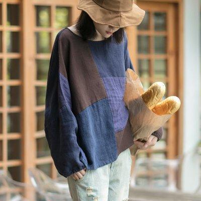 【子芸芳】原創亞麻拼色蝙蝠袖寬鬆長袖棉麻衫上衣
