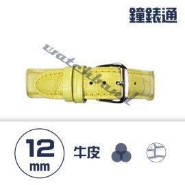 【鐘錶通】C1.04KW《繽紛系列》鱷魚壓紋-12mm 鵝黃┝手錶錶帶/高質感/牛皮錶帶┥
