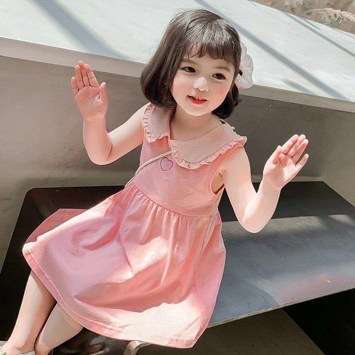 •*~ 辣媽咪衣飾小舖 ~*•❤童裝系列❤K640224韓版小童夏款可愛甜美娃娃領背心裙公主洋裝