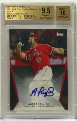 Albert Pujols 限量1張 2017 Topps On Demand 600HR Club 簽名卡 大谷翔平