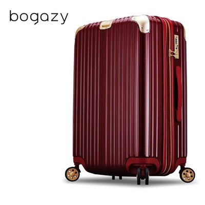「Bogazy」日和風華-24吋-亮面可加大旅行箱 (紅色+金色護角)