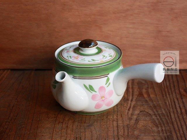 +佐和陶瓷餐具批發+【XL296 綠花紋急須壺】 急須壺 茶壺 側把壺 單把壺