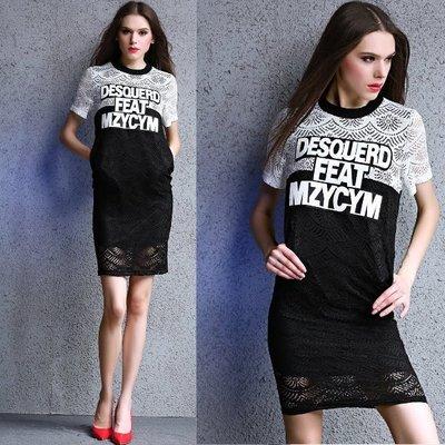 連身裙 #E-026 圓領短袖蕾絲拼接設計