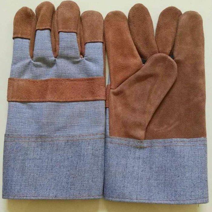 廠家~低價短款牛皮手套 短毛駁防護工作手套 電焊手套 工焊接耐用勞保手套