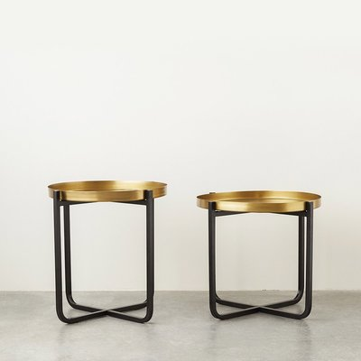【Eze Art Deco】美國設計師傢飾,美式 工業風 鐵制邊桌黑色&銅色,套二 邊桌邊几小茶几小圓几展示桌圓桌金屬桌